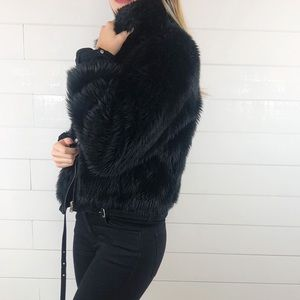 Express Faux Fur Black Jacket Real Leather Trim